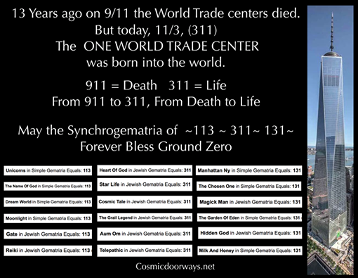 11-3-2014: Keys to Cosmic Doorways -   What if the Science of SYNCHROGEMATRIA could be used to gather words, numbers and names together, in such a way, as to create a positive frequency in a people's minds. What if the words, the numbers, and the names, all reverberated in such a way that not only people, but places, could be harmonized and balanced. On that note, let's put it to the test: Today, 11/3 (311) the World Trade Center was born... and to celebrate... Here is a slide with some Positive words, names, and numbers that are Synchrogematricly related to the Birthday of the One World Trade Center. 113 ~ 311 ~ 131 UNICORNS = 113 THE NAME OF GOD = 113 DREAM WORLD = 113 MOONLIGHT = 113 GATE = 113 REIKI = 113 HEART OF GOD = 311 STAR LIFE = 311 COSMIC TALE = 311 THE GRAIL LEGEND = 311 AUM OM = 311 TELEPATHIC = 311 MANHATTAN NY = 131 THE CHOSEN ONE = 131 MAGICK MAN = 131 THE GARDEN OF EDEN = 131 HIDDEN GOD = 131 MILK AND HONEY = 131 113 ~ 311 ~ 131 HAPPY BIRTHDAY ONE WORLD TRADE CENTER