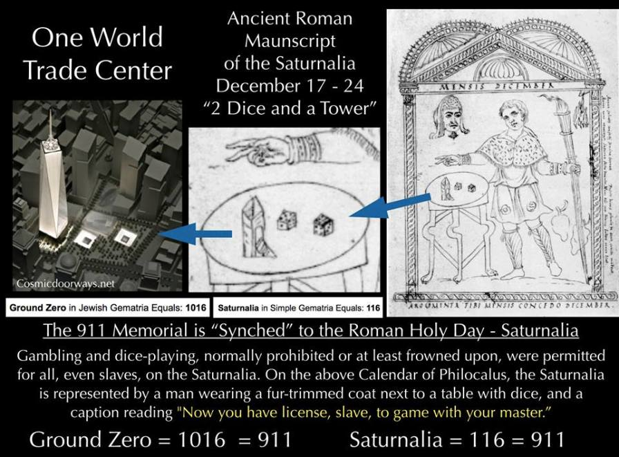 "11-9-2014: Keys to Cosmic Doorways -   Back in 2011 I had made some slides suggesting a relationship between the layout of the 911 Memorial, ""Reflecting Absence"" and the Roman God Saturn. The relationship was veiled in the lay out of the memorial-- Two giant black cubes-- Interestingly the Roman God Saturn was worshiped and equated with Black Cubes, in fact the planet Saturn has a giant cube spinning at its pole. Tonight I was looking through old roman manuscripts about the ancient Roman Holiday called the Saturnalia, which started on December 17th of each year. On the Saturnalia, Roman Slaves were allowed to ""toss dice"" and gamble, that was something normally not allowed. I saw an ancient picture of a slave tossing the dice by a tower, the picture looked just like the 911 Memorial from above. Here is some commentary on the Saturnalia, ""Gambling and dice-playing, normally prohibited or at least frowned upon, were permitted for all, even slaves, on the Saturnalia. On the above Calendar of Philocalus, the Saturnalia is represented by a man wearing a fur-trimmed coat next to a table with dice, and a caption reading, ""Now you have license, slave, to game with your master."" Ground Zero and the Saturnalia are Synchrogemtricly related to 911. GROUND ZERO = 1016 = 911 SATURNALIA = 116 = 911"