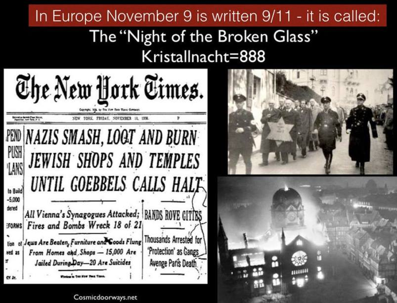 "11-9-2014: Keys to Cosmic Doorways   Learn the deeper meaning of the date 9/11 from what happened to the Jews in Nazi Germany. In Europe, November 9th (11/9), is written 9/11. Therefore, November 9th is Europe's 9/11. On Nov. 9, (911) 1938, hundreds of synagogues were burned, numerous homes and Jewish-owned stores were ransacked, some 1,000 people were killed and more than 30,000 Jews were sent to concentration camps. The attacks marked the beginning of the state-organized, violent persecution of Jews which ended in the murder of six million European Jews by the end of the Third Reich in 1945. November 9th, (911) was henceforth known as: ""The Night of the Broken Glass"" aka KRISTALLNACHT. KRISTALLNACHT = 888 888 is the number of the CHRIST 888 + 888 = 1776 = the Height of ONE WORLD TRADE CENTER"