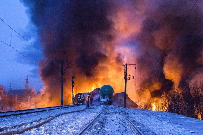 Railway Fire in Kirov, Russia. 2-05-2015
