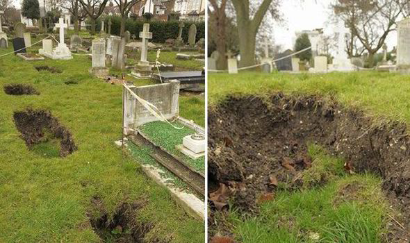 The soil has begun to sink at a cemetary in Kent.