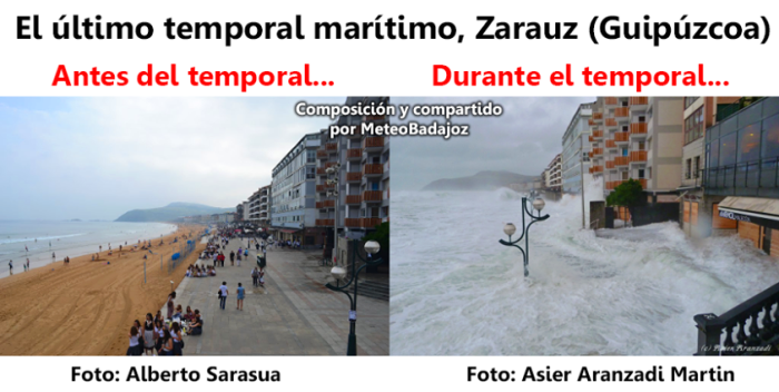 Spectacular storm surge during the recent deep low that passed over western Europe recently. These images are from Zarauz, northern Spain and probably do not require further comment. Image: Meteo Badajoz via. Weekly Weather