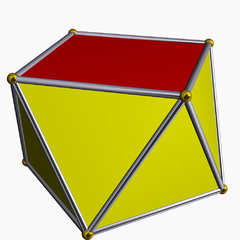 In geometry, the square antiprism is the second in an infinite set of antiprisms formed by an even-numbered sequence of triangle sides closed by two polygon caps. It is also known as an anticube.