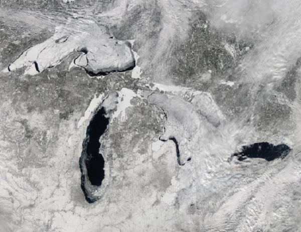 A deep freeze has settled in over the Great Lakes this winter and a new image released by NASA shows the astonishing extent of the ice cover as seen from space. NASA's Aqua satellite captured this image of the lakes on the early afternoon of Feb. 19, 2014. At the time, 80.3 percent of the five lakes were covered in ice, according to the Great Lakes Environmental Research Laboratory (GLERL), part of the National Oceanic and Atmospheric Administration. Earlier this month, ice cover over the Great Lakes hit 88 percent for the first time since 1994. Typically at its peak, the average ice cover is just over 50 percent, and it only occasionally passes 80 percent, according to NASA's Earth Observatory. 2-22-2014