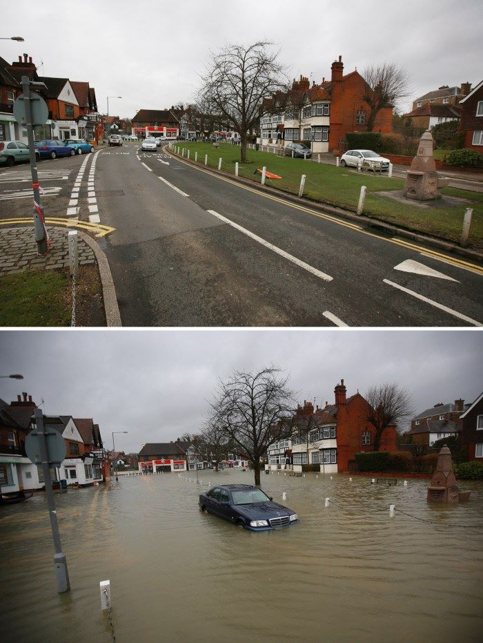 Another amazing comparison of before and after the major flooding of the river Thames. This one is from the town of Datchet, England.  Photo by: Peter Macdiarmid/Getty Images