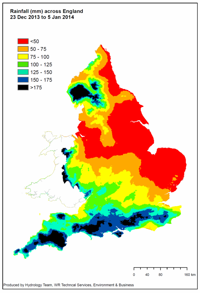 Rainfall totals across England between 23rd December 2013 and 5th January 2014.