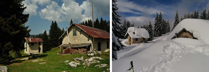 Vicinity of Campomulo, 1700 m above sea level in the province of Vicenza. Before & after.