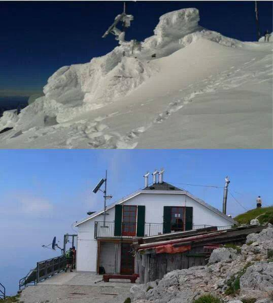 Before & after: Rifugio Brioschi, Monte Grignone, Lombardy, N Italy at 2400 m elevation.