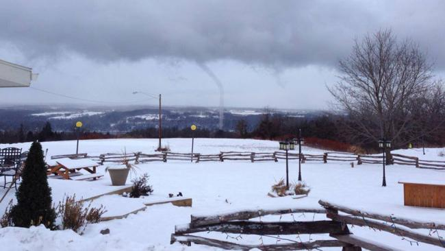 A waterspout is photographed over Cayuga Lake in central New York on Jan. 21, 2014. Link: http://www.weather.com/news/tornado-central/waterspouts-winter-new-york-20140123?hootPostID=8aefbcc6e8bf6a4a0de04932ef6b462e