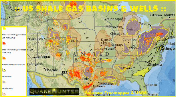 ":: INDUCED EARTHQUAKES in the U.S.A ::  Shale Gas, Hydraulic Fracturing, & Induced Earthquakes. Within the central and eastern United States, the number of earthquakes has increased dramatically over the past few years. More than 300 earthquakes above a magnitude 3.0 occurred in the three years from 2010–2012, compared with an average rate of 21 events per year observed from 1967–2000. These earthquakes are fairly small — large enough to have been felt by many people, yet small enough to rarely have caused damage. A team of USGS scientists led by Bill Ellsworth analyzed changes in the rate of earthquake occurrence using large USGS databases of earthquakes recorded since 1970. The increase in seismicity has been found to coincide with the INJECTION of WASTEWATER in deep disposal wells in several locations, including COLORADO, TEXAS, ARKANSAS, OKLAHOMA & OHIO. Much of this wastewater is a byproduct of OIL and GAS production and is routinely disposed of by injection into wells specifically designed and approved for this purpose. Although wastewater injection has not yet been linked to large earthquakes (M6+), scientists cannot eliminate the possibility. It does appear that wastewater disposal induced the M5.3 Raton Basin, Colorado earthquake in 2011 as well as the M5.6 quake that struck Prague, Oklahoma in 2011, leading to a few injuries and damage to more than a dozen homes. **Evidence from some case histories suggests that the magnitude of the largest earthquake tends to increase as the total volume of injected wastewater increases. Injection pressure and rate of injection may also be factors. More research is needed to determine answers to these important questions. Hydraulic fracturing, commonly known as ""fracking,"" does not appear to be linked to the increased rate of magnitude 3 and larger earthquakes."
