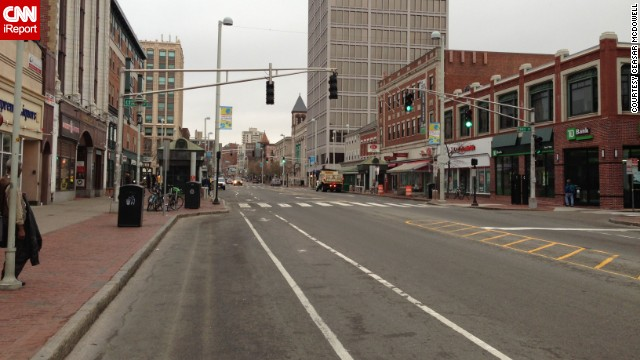 Cambridge MA is shut town. The usual busy Central Sq is almost deserted