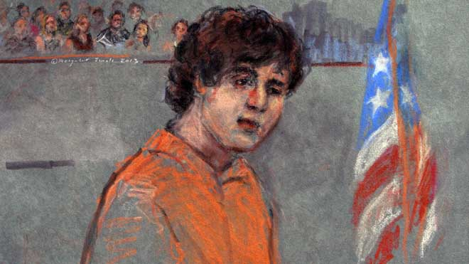 This courtroom sketch depicts Boston Marathon bombing suspect Dzhokhar Tsarnaev during arraignment in federal court in Boston.  7-11-2013