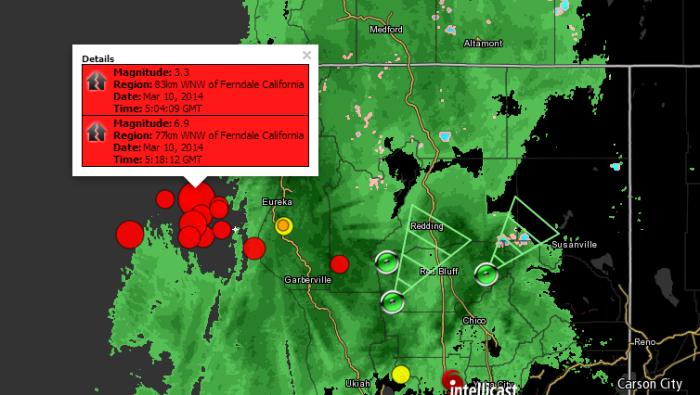 (7.0) 6.9 Magnitude Earthquake 83km WNW of Ferndale, California 5:04 UTC + MANY Aftershocks  3-10-2014