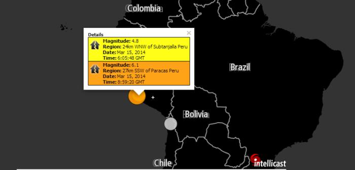 Magnitude: 6.1 Region: 27km SSW of Paracas Peru Date: Mar 15, 2014 Time: 8:59:20 GMT Magnitude: 4.8 Region: 24km WNW of Subtanjalla Peru Date: Mar 15, 2014 Time: 6:05:48 GMT