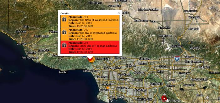 Magnitude: 4.4 Region: 9km NNW of Westwood California Date: Mar 17, 2014 Time: 13:25:36 GMT Magnitude: 2.6 Region: 9km NW of Westwood California Date: Mar 17, 2014 Time: 14:23:39 GMT Magnitude: 2.4 Region: 11km ENE of Topanga California Date: Mar 17, 2014 Time: 17:07:32 GMT