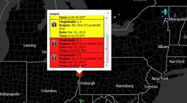 Ohio Earthquake Swarm 3-10-2014 20:07 UTC Magnitude: 2.8 Region: 2km S of Lowellville, Ohio Date: Mar 10, 2014 Time: 6:26:44 GMT Magnitude: 3.0 Region: 2km S of Lowellville, Ohio Date: Mar 10, 2014 Time: 6:26:45 GMT Magnitude: 2.4 Region: 3km SSW of Lowellvill,e Ohio Date: Mar 10, 2014 Time: 6:42:44 GMT Magnitude: 2.2 Region: 2km S of Lowellville, Ohio Date: Mar 10, 2014 Time: 15:03:47 GMT Magnitude: 2.6 Region: 2km S of Lowellville, Ohio Date: Mar 10, 2014 Time: 15:44:06 GMT