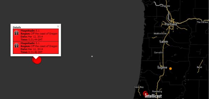 5.1 Magnitude Earthquake Off the coast of Oregon  3-12-2014 0:31:46 UTC