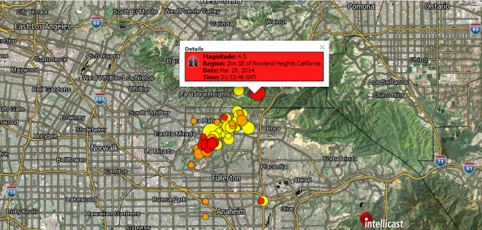 4.5 Magnitude Earthquake (Aftershock) 2km SE of Rowland Heights, California 3-29-2014 21:32 UTC
