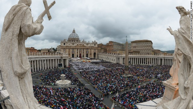4-27-2014: A large crowd gathers in St. Peter's Square for the canonization Mass for Popes John XXIII and John Paul II.
