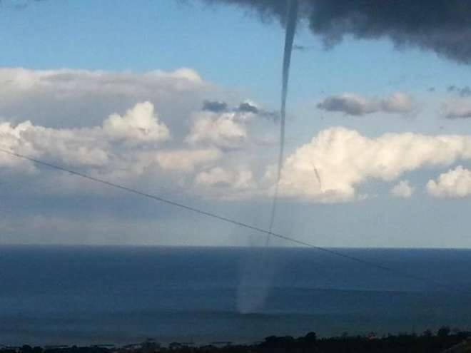 4-15-2014: Waterspout in front of Porto San Giorgio (FM), Italy today. Source: Corriere Adriatico.it