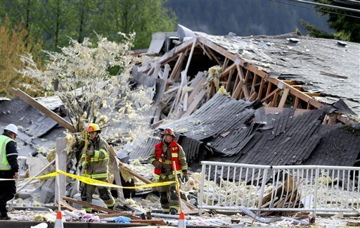 4-25-2014: SEATTLE — A big explosion and fire destroyed three buildings, damaged several others, sent debris flying for blocks and jolted people awake early Friday in a Washington town, firefighters and North Bend residents said.