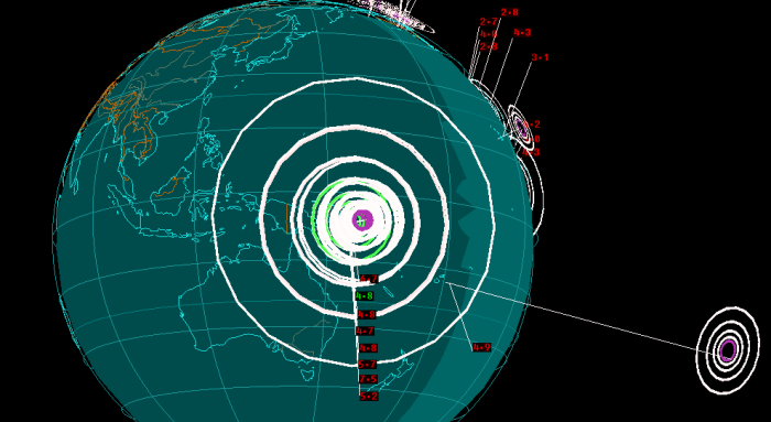 Magnitude: 4.7 Region: 50km SSW of Panguna Papua New Guinea Date: Apr 18, 2014 Time: 17:53:44 GMT Magnitude: 6.6 Region: 59km SW of Panguna Papua New Guinea Date: Apr 19, 2014 Time: 1:04:03 GMT Magnitude: 6.9 Region: 68km SW of Panguna Papua New Guinea Date: Apr 19, 2014 Time: 1:04:08 GMT Magnitude: 5.2 Region: 64km SW of Panguna Papua New Guinea Date: Apr 19, 2014 Time: 13:21:20 GMT Magnitude: 7.5 Region: 75km SW of Panguna Papua New Guinea Date: Apr 19, 2014 Time: 13:27:59 GMT Magnitude: 7.8 Region: 68km SW of Panguna Papua New Guinea Date: Apr 19, 2014 Time: 13:28:00 GMT Magnitude: 5.6 Region: 120km SW of Panguna Papua New Guinea Date: Apr 19, 2014 Time: 13:47:51 GMT Magnitude: 4.8 Region: 112km SSW of Panguna Papua New Guinea Date: Apr 19, 2014 Time: 14:24:38 GMT Magnitude: 4.7 Region: 150km SW of Panguna Papua New Guinea Date: Apr 19, 2014 Time: 14:32:15 GMT Magnitude: 4.8 Region: 119km SW of Panguna Papua New Guinea Date: Apr 19, 2014 Time: 14:56:39 GMT Magnitude: 4.8 Region: 149km WSW of Panguna Papua New Guinea Date: Apr 19, 2014 Time: 15:52:57 GMT