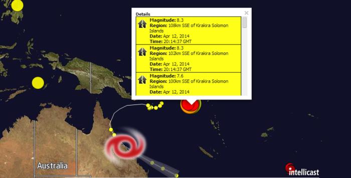 Magnitude: 8.3 Region: 108km SSE of Kirakira Solomon Islands Date: Apr 12, 2014 Time: 20:14:37 GMT Magnitude: 8.3 Region: 102km SSE of Kirakira Solomon Islands Date: Apr 12, 2014 Time: 20:14:37 GMT Magnitude: 7.6 Region: 100km SSE of Kirakira Solomon Islands Date: Apr 12, 2014 Time: 20:14:39 GMT Magnitude: 5.9 Region: 96km SSE of Kirakira Solomon Islands Date: Apr 12, 2014 Time: 20:24:46 GMT Magnitude: 4.9 Region: 123km SSE of Kirakira Solomon Islands Date: Apr 12, 2014 Time: 20:49:56 GMT Magnitude: 4.7 Region: 72km S of Kirakira Solomon Islands Date: Apr 12, 2014 Time: 21:11:02 GMT Magnitude: 5.0 Region: 149km SE of Kirakira Solomon Islands Date: Apr 12, 2014 Time: 21:17:05 GMT Magnitude: 4.6 Region: 124km SE of Kirakira Solomon Islands Date: Apr 12, 2014 Time: 21:34:39 GMT Magnitude: 5.1 Region: 85km SSE of Kirakira Solomon Islands Date: Apr 12, 2014 Time: 21:39:05 GMT Magnitude: 4.6 Region: 142km SSE of Kirakira Solomon Islands Date: Apr 12, 2014 Time: 22:18:51 GMT Magnitude: 4.9 Region: 129km SSE of Kirakira Solomon Islands Date: Apr 12, 2014 Time: 22:40:33 GMT Magnitude: 5.1 Region: 127km SSE of Kirakira Solomon Islands Date: Apr 12, 2014 Time: 23:52:14 GMT Magnitude: 4.9 Region: 124km S of Kirakira Solomon Islands Date: Apr 13, 2014 Time: 3:17:56 GMT Magnitude: 4.8 Region: 131km S of Kirakira Solomon Islands Date: Apr 13, 2014 Time: 3:41:01 GMT Magnitude: 4.6 Region: 95km SSW of Kirakira Solomon Islands Date: Apr 13, 2014 Time: 4:31:10 GMT Magnitude: 4.8 Region: 82km S of Kirakira Solomon Islands Date: Apr 13, 2014 Time: 4:36:26 GMT Magnitude: 4.6 Region: 87km S of Kirakira Solomon Islands Date: Apr 13, 2014 Time: 5:25:24 GMT Magnitude: 4.7 Region: 89km SW of Kirakira Solomon Islands Date: Apr 13, 2014 Time: 5:36:01 GMT Magnitude: 4.9 Region: 124km SSE of Kirakira Solomon Islands Date: Apr 13, 2014 Time: 5:59:24 GMT Magnitude: 4.6 Region: 126km S of Kirakira Solomon Islands Date: Apr 13, 2014 Time: 6:19:25 GMT Magnitude: 4.8 Region: 146km SE of Kirakira Solomo