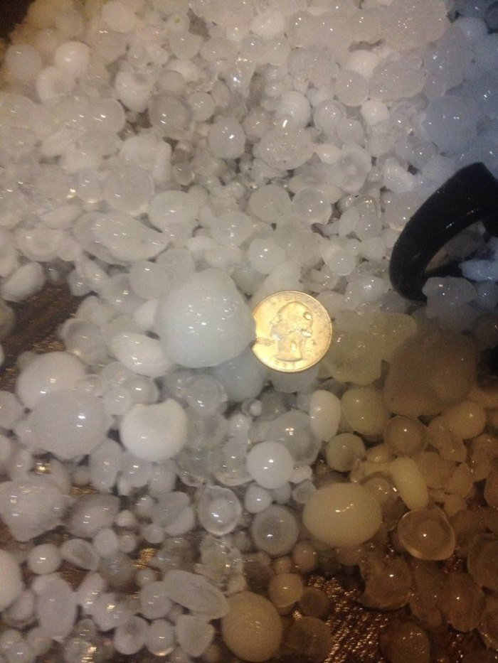 4-3-2014: Arkansas - Hail Thursday evening at Marshall in Searcy County. Photographer was Heath Massey, provided by Ron Hearst at KY3. We did have reports of hail as large as 2 inches in diameter in the Marshall area.