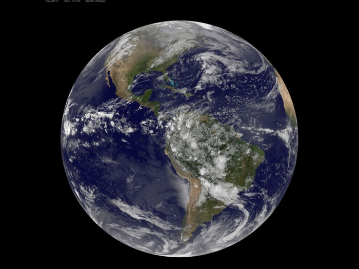 4-22-2014: NOAA's GOES-East satellite captured this stunning view of the Americas on Earth Day, April 22, 2014 at 11:45 UTC/7:45 a.m. EDT. The data from GOES-East was made into an image by the NASA/NOAA GOES Project at NASA's Goddard Space Flight Center in Greenbelt, Md.