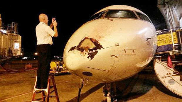4-22-2014: The plane was flying to Rapid City when it hit a bird, according to a Rapid City airport official. — in Rapid City, SD.