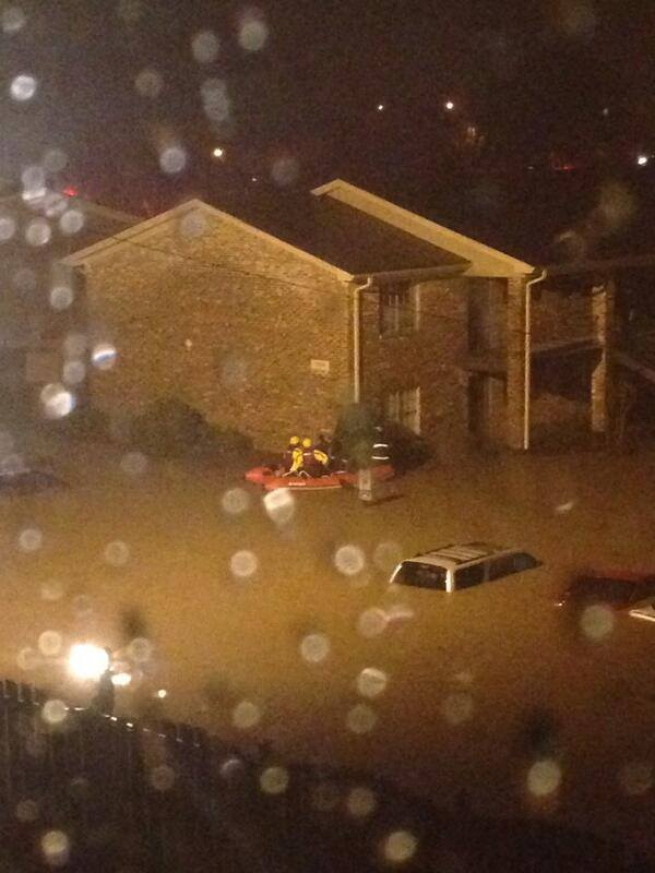 4-7-2014: Heavy rain has led to numerous water rescues and cars underwater in the Birmingham, AL area this morning. Photo courtesy @bailes312