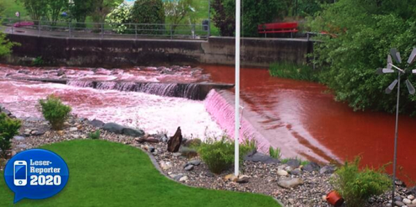 4-30-2014: The River Lotzwil (Bern, Switzerland) has suddenly turned blood red.  Scientists say they have absolutely no explanation.