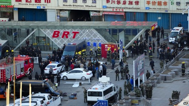 4-30-2014: A bomb and knife attack at a railway station in China's western Xinjiang region has killed three and injured 79 others, officials and state media say.