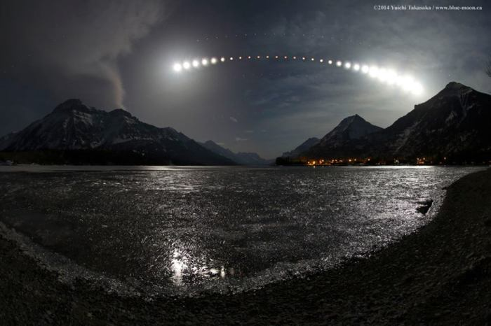 4-15-2014: image of Lunar Eclipse as seen from Waterton Lake from the Waterton Lakes National Park in Alberta, Canada. Source: Yuichi Takasaka / www.blue-moon.ca / APOD