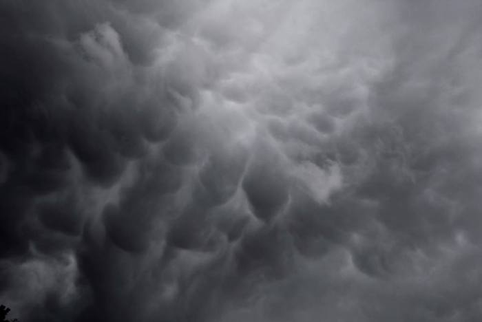 4-23-2014: Lucas Adler reports these mammatus clouds from morning storms that developed along the Vosges (France) and Black Forest mountains (Germany).  Photo: Lucas Adler