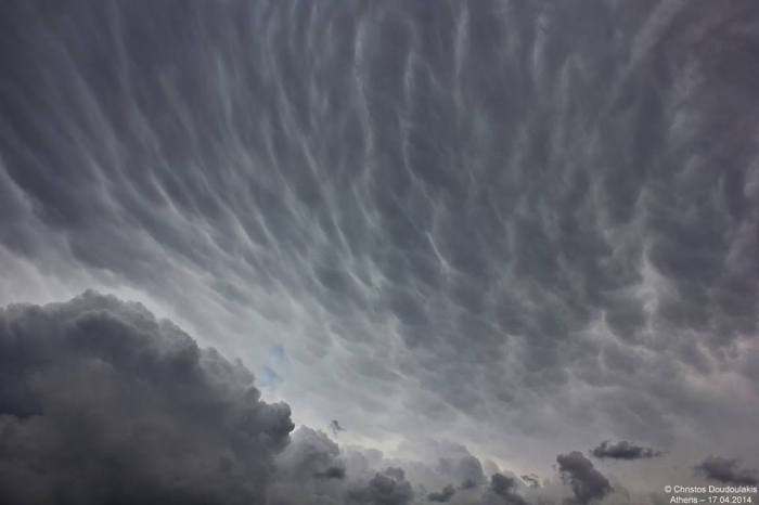 4-16-2014: photo of the impressive mammatus display over Athens, Greece today.  Photo: Christos Doudoulakis