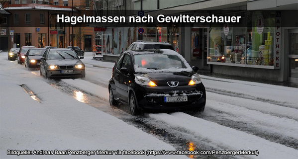 4-21-2014: Significant hail accumulation in Bayern, Germany this afternoon after a local thunderstorm. Source: WetterOnline