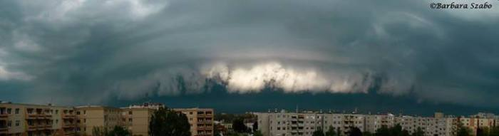 4-19-2014: panorama of a shelf cloud over Székesfehérvár, Hungary earlier today.  Photo: Barbara Szabó