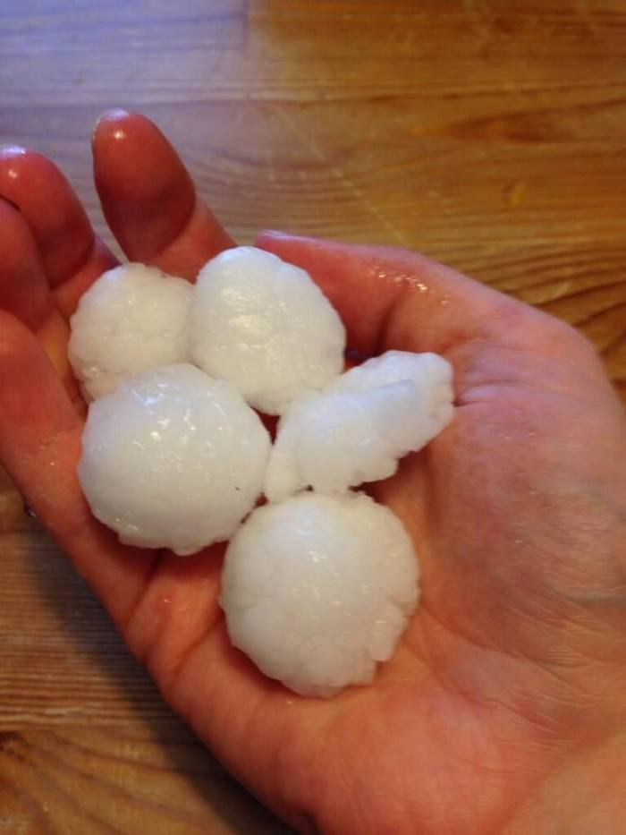 4-12-2014: Severe storms in cluster moving towards the Great Lakes, here is a large hail event awhile ago in Lake In The Hills, Illinois. Source: @maryengel via twitter / @Ginger_Zee Hail