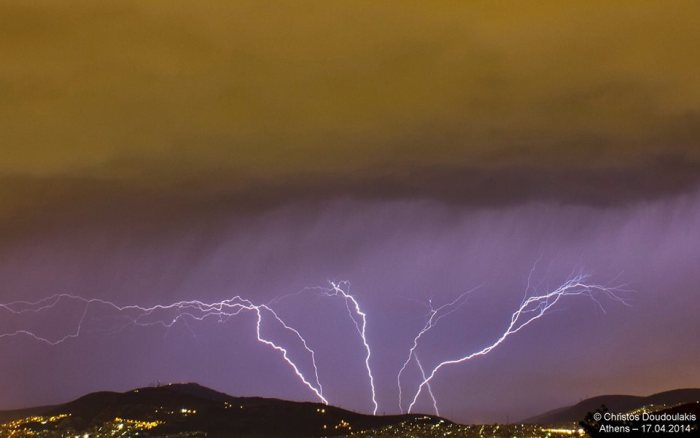 4-17-2014: lightning strikes  over Athens, Greece. Report and photo by Christos Doudoulakis.