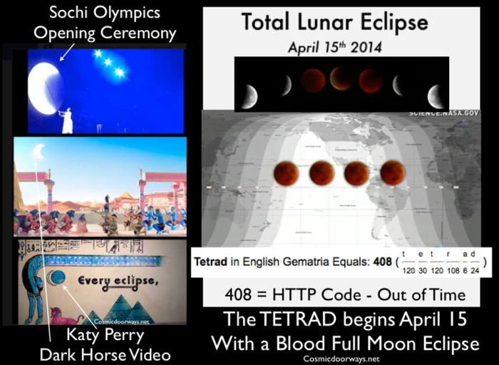 "4-6-2014: Mark Gray: Let us Re-member back to February--- The Sochi Opening Ceremony AND Katy Perry's Dark Horse Video both portrayed an ""Eclipse"".... Were these signs to upcoming moon events? Oddly, April 15th 2014 will begin a series of 4 Blood Moons (TETRAD) that will fall exactly on Passover and the Feast of the Tabernacles over a two year period - This rarely happens. When 4 total lunar eclipses occur in a row with intervals of 6 lunations (semester), this is called a TETRAD. The period for occurrence of TETRADS is variable and currently is about 565 years. Tetrad = 408 in Gemetria 408 is the HTTP Code - ""Out of Time"" Also, April 15th, the date of the first Full Moon Eclipse, is not only Passover but the one year anniversary of the Boston Bombings. Some Christians see this series of so-called blood moons as linked to a biblical prophecy of the Beginning of the End Times."