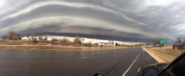 4-12-2014:  view of a shelf cloud near Winona, MN taken this morning by Randy Benson.