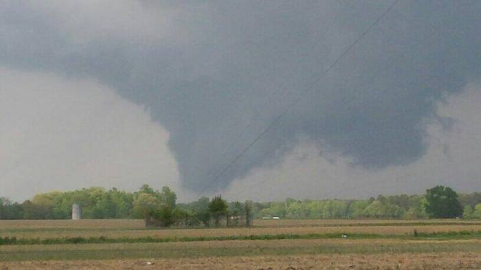4-25-2014: Tornado in Greene County, NC earlier. Photo from @wxrjm