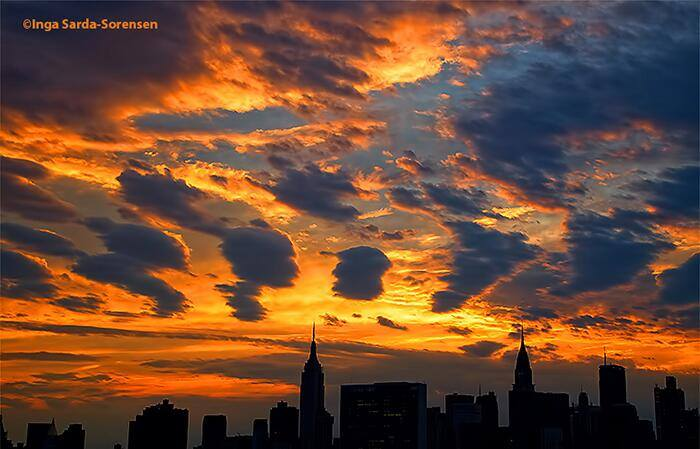 4-11-2014: NYC skyline at sunset! Photo from @isardasorensen