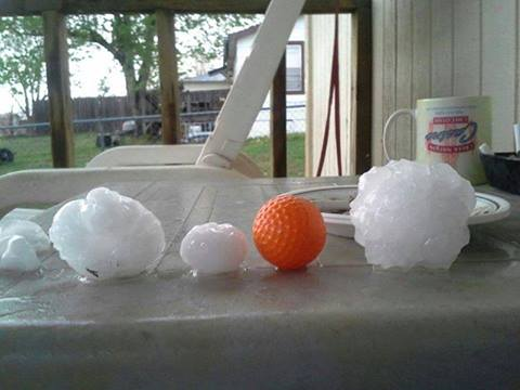 4-3-2014: Large hail in Checotah, Oklahoma on April 3, 2014. Still awaiting proper conditions for first severe hailstorms in Europe. Source: Alan Brorese