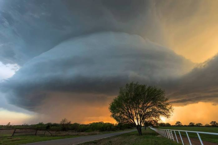 "4-13-2014:  Supercell photo taken near Courtney, Oklahoma! Source: ""Looking Up"" by Mike Mezeul II"