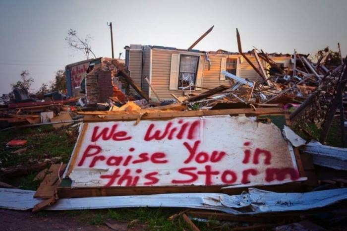 4-27-2014: At least 31 tornadoes were reported by the National Weather Agency to have hit Arkansas, Iowa, Kansas, Missouri, Louisiana, Nebraska and Oklahoma. Photo from twitter: @allys_sons