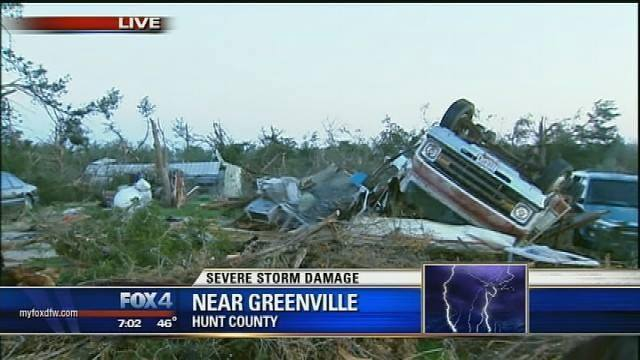 4-3-2014: Tornado damage yesterday across Greenville, TX. The important number here is 0, the number of fatalities.
