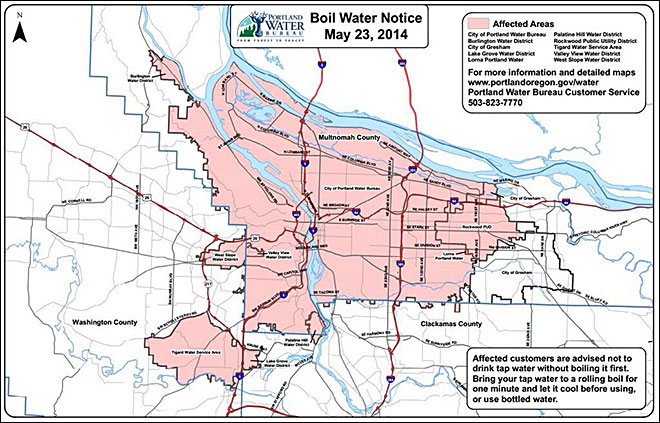 "PORTLAND, Ore. – The city of Portland has issued a boil water notice for all customers after state health officials detected E. coli bacteria in water samples at three locations over a three-day period. ""Until further notice, all Portland Water Bureau customers and those in the affected areas should boil all tap water used for drinking, food preparation, tooth brushing and ice for at least one minute. Ice or any beverages prepared with un-boiled tap water on or after May 20 should be discarded,"" the water bureau said on its website. Officials said 670,000 people are affected by the boil water notice. It is the largest boil water notice in the city's history."