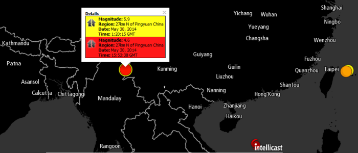 Magnitude: 5.9 Region: 27km N of Pingyuan China Date: May 30, 2014 Time: 1:20:15 GMT Magnitude: 4.6 Region: 27km N of Pingyuan China Date: May 30, 2014 Time: 15:53:38 GMT